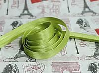 Косая бейка атласная 1,5см. оливковая
