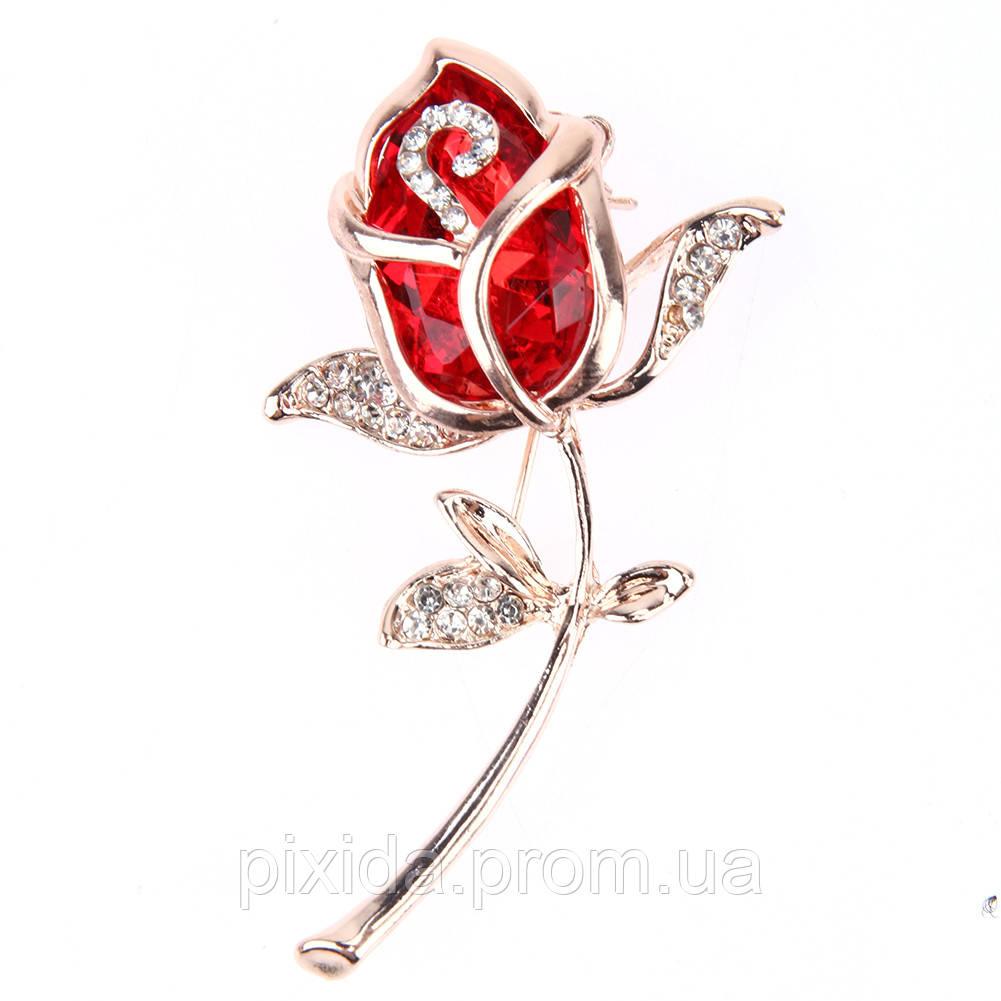 Брошь Хрустальная роза цвета на выбор