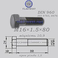 Болт с мелкой резьбой DIN 960 прочность 10,9 М16х1,5х80 черный (без покрытия)