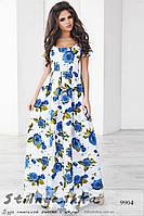 Легкое платье в пол с голубыми розами
