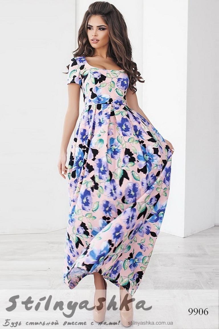 10117311fe41 Легкое платье в пол с цветами пудра