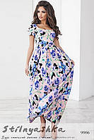Легкое платье в пол с цветами пудра