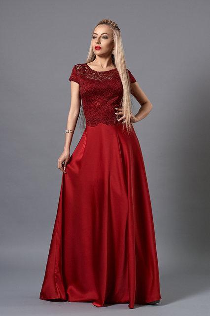 e4a85a181b9 Нарядное вечернее платье в цвете марсала из шелка и гипюра от оптово ...