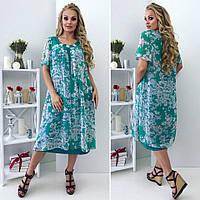 Женское летнее платье шифон + масло большие размеры, фото 1