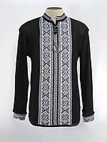 Черная мужская вышитая рубашка