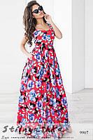 Легкое платье в пол с цветами красное