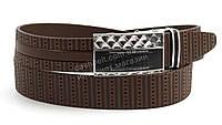 Качественный прочный мужской кожаный ремень с пряжкой автомат без трещетки 3,5 см коричневый (100337) Украина