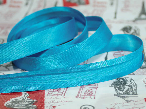 Косая бейка атласная 1,5см. голубая бирюза, фото 2