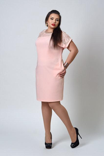 670b3d7fc194794 Стильное женское платье больших размеров розового цвета : продажа ...