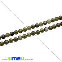 Бусина натуральный камень Лабрадорит, 6 мм, Круглая, 1 шт (BUS-020775)