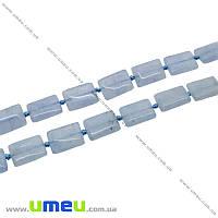 Бусина натуральный камень Аквамарин, 15х10х5 мм, Прямоугольная плоский, 1 шт (BUS-020780)
