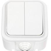 Вимикач 2-клавішний брискозахищеність IP 54, білий, Пралеска Аква Bylectrica
