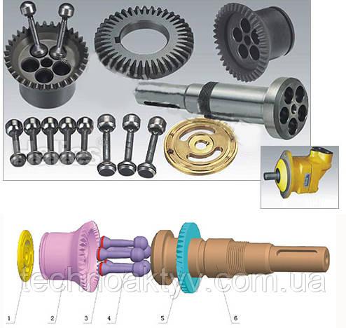 Гидронасос Paker F11C10/014/60/80/150/250/F12/060/080: 1 - Клапанная плита  1шт 2 - Поршневой блок  1шт 3 - Кольцо  5шт 4 - Поршень  5шт 5 - Главная шестерня  1шт 6 - Ведущий вал  1шт 7 - Шпилька  1шт