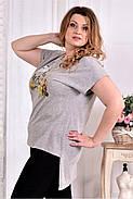 Женская стрейчевая футболка со шлейфом 0561 цвет серый размер 42-74, фото 4