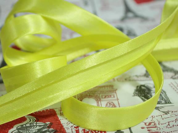 Косая бейка атласная 1,5см. желтая, фото 2