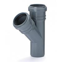 Тройник 40х40/45º ПП Юнипласт с раструбами и уплотнительными кольцами для внутренней канализации серый