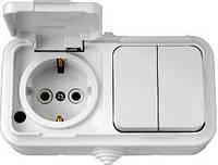 Выключатель 2-клавишный + розетка с з/к IP 54, белый, Пралеска Аква Bylectrica