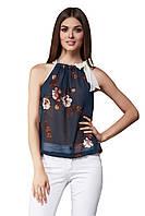 Блуза женская GIOIA с бантом синяя