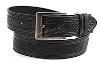 Прочный мужской кожаный широкий ремень под джинсы черный 4,5 см (100333) Украина