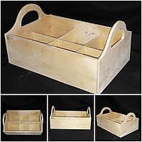 Бутылочный деревянный ящик под шесть бутылок, 30х20х15 см., 190/160 (цена за 1 шт. + 30 гр.)
