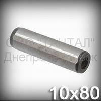 Штифт 10х80 ГОСТ 12207-79 (DIN 7979D, ISO 8735) цилиндрический с резьбой закалённый шлифованый