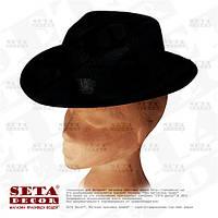 Черная гангстерская шляпа с черной лентой карнавальная