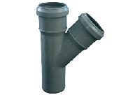 Тройник 50х50/45º ПП Европласт с раструбами и уплотнительными кольцами для внутренней канализации серый