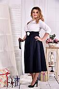 Женское платье макси 0559 цвет синее-белое размер 42-74 / больших размеров , фото 3