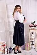 Женское платье макси 0559 цвет синее-белое размер 42-74 / больших размеров , фото 4
