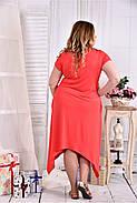 Женское платье ниже колена 0558 цвет коралл размер 42-74 / больших размеров , фото 2