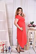 Женское платье ниже колена 0558 цвет коралл размер 42-74 / больших размеров , фото 3