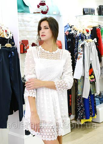 Брендовое женское платье летнее  белое ажурное Италия м, фото 2