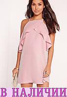 Симпатичное легкое платье свободного кроя на бретелях с воланами  Sandy