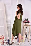 Женское платье ниже колена  0558 цвет хакки размер 42-74 / больших размеров , фото 2