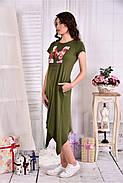 Женское платье ниже колена  0558 цвет хакки размер 42-74 / больших размеров , фото 3