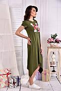 Женское платье ниже колена  0558 цвет хакки размер 42-74 / больших размеров , фото 4