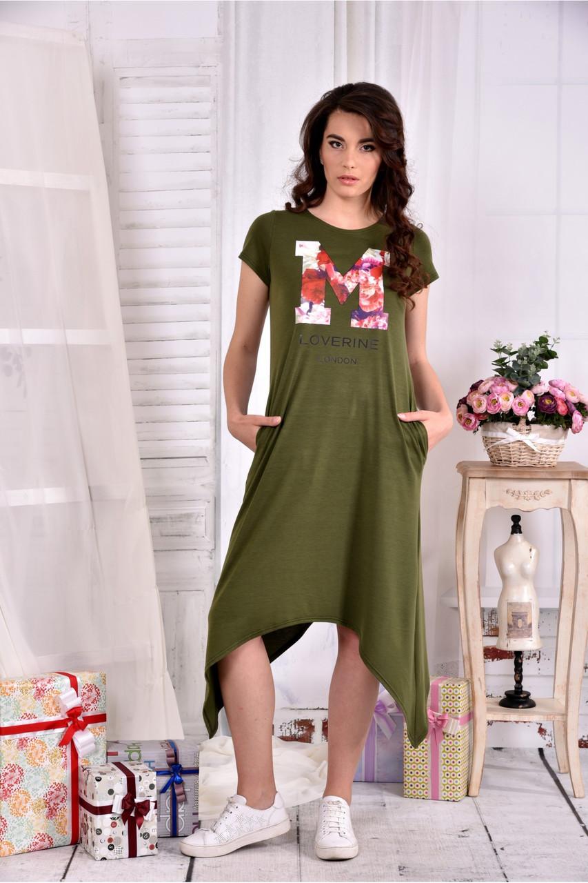 Женское платье ниже колена  0558 цвет хакки размер 42-74 / больших размеров