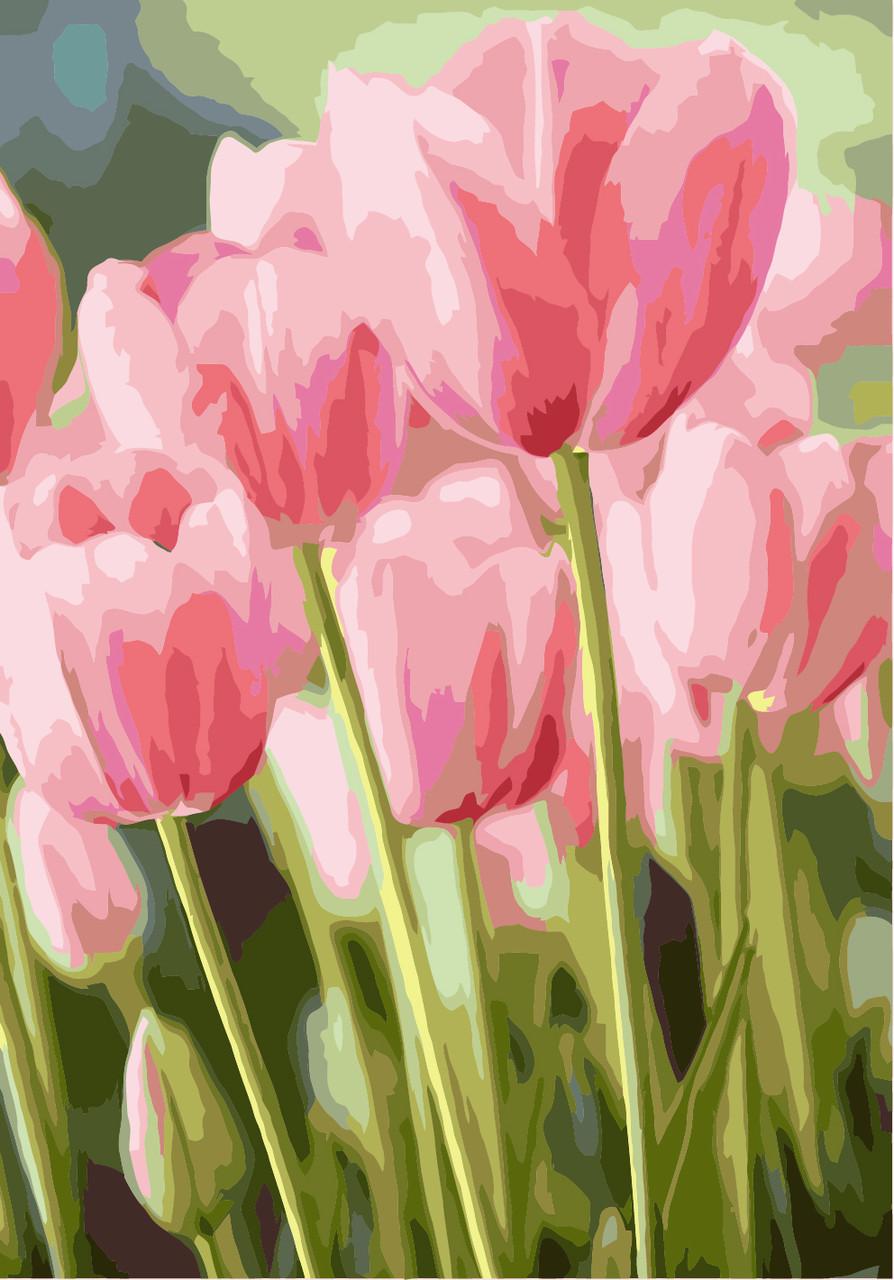 Рисование по номерам Весенние тюльпаны (KH2069) Идейка 40 х 50 см