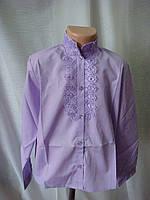 Классическая блузка для девочки с длинным рукавом сиреневая