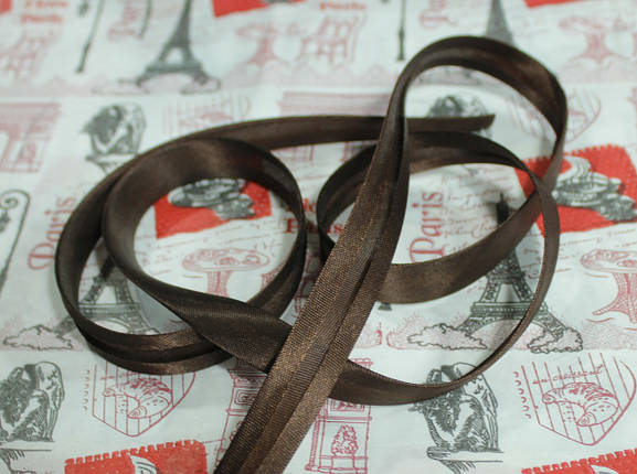 Косая бейка атласная 1,5см. шоколадная, фото 2