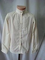 Классическая блузка для девочки с длинным рукавом бежевая