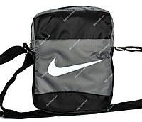 Серо-черная тканевая сумка для мужчин в стиле Nike (Т-3)