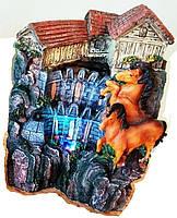 Фонтан декоративный комнатный Водопад Дождь 2-а коня у Форта  насос в комплекте 8016 Размер 24=18=14 4-е струи 2-а каскада