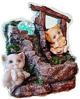 Фонтан декоративный комнатный Водопад с 2-мя котиками под навесом насос в комплекте 28282 Размер 26=20=15