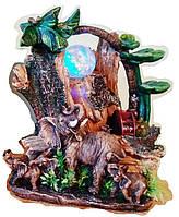 Фонтан декоративный Слониха привела 2-х слонят на Водопад под пальмами тропическими 1421 Размер 27=22=16 СЛОН