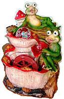 Фонтан декоративный комнатный Водопад 2-е жабки у гриба с мельницей 19-55 Размер 28=18=15 подсветка и шар