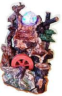 Фонтан декоративный комнатный 2-а слоника у Водопада подсветка, шар и мельница 0096 Размер 29=14=16 СЛОН
