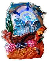 Фонтан декоративный комнатный Коралловый риф Спасательный круг, 3-и дельфина, золото 3443(39-37) Размер 21=14=12