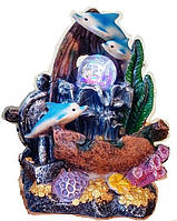 Фонтан декоративный комнатный Коралловый  риф лодка и 3-и дельфина 6049 Размер 27=20=15