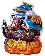 Фонтан декоративный комнатный Коралловый риф Якорь, 3-и дельфина, золото 3443(43) Размер 21=14=12